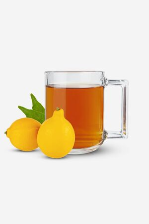Tea in a mug, lemons lie on a white Foto de archivo - 145325990