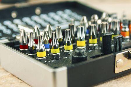 A set of bits for a screwdriver, closeup. Foto de archivo