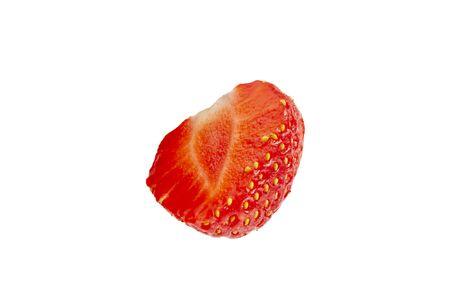 Half the strawberries close up on a white background. Foto de archivo - 150530681