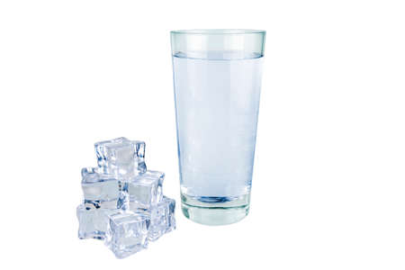 Ice cubes with a glass of water on a white background.