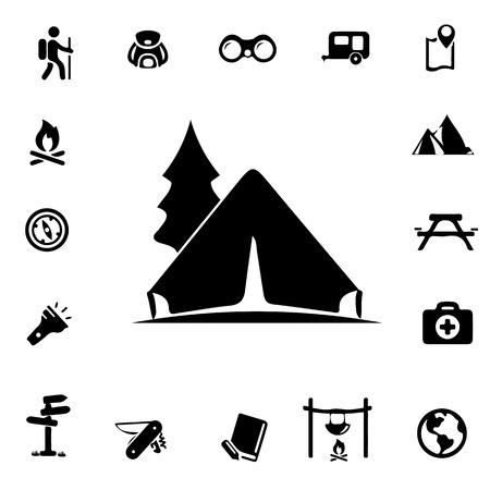 camping Silhouet pictogrammen Stock Illustratie
