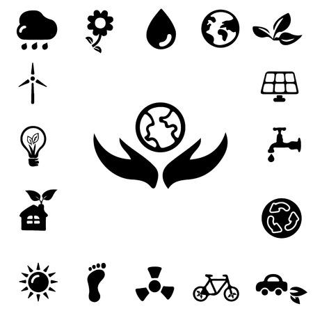 showcase interior: Ecology Silhouette icons Illustration