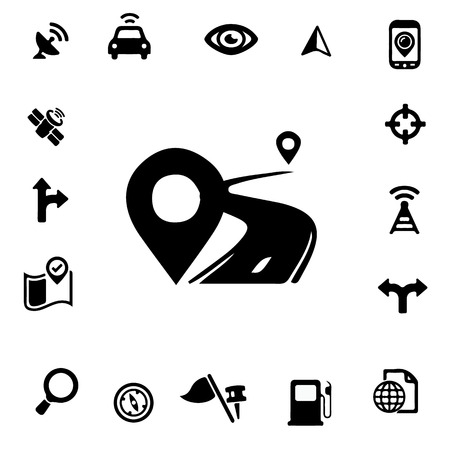 GPS Silhouette Icons Ilustração