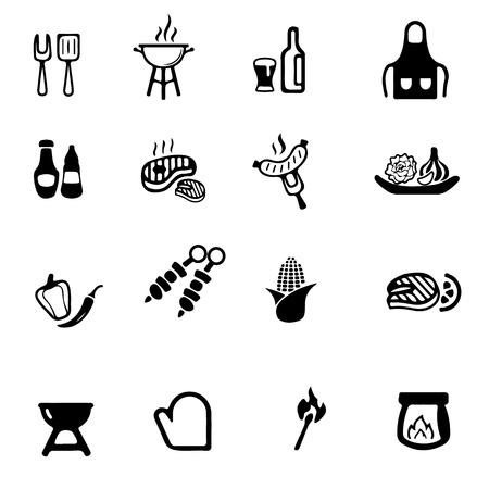 coal fish: Barbecue Grill Silhouette icons Illustration