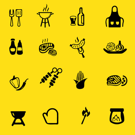 corn: Barbecue Grill Yellow Silhouette icons