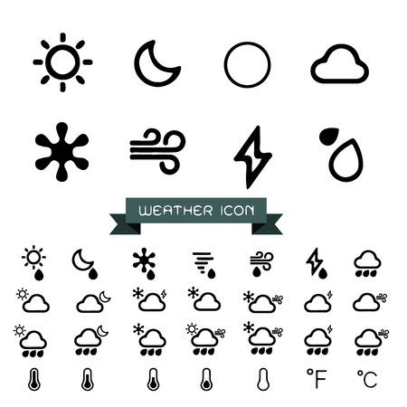 Weather icons set Ilustracja