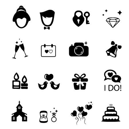 Wedding Ceremony Icons Mono Vector Symbols Royalty Free Cliparts