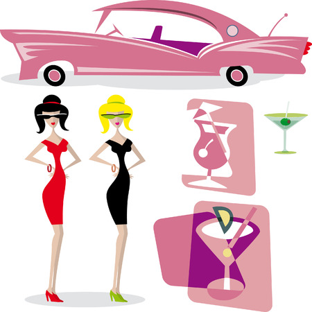 50s: Fifties Style Fashion Icons Illustration