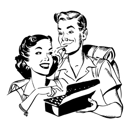 gal: Fifties Couple sharing chocolates