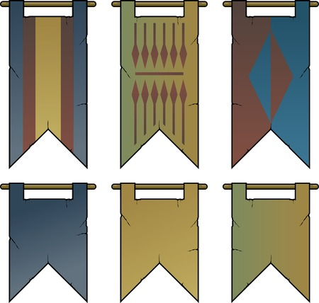 medieval banner: Heraldic Banners and Flags Illustration