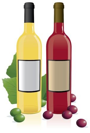 sauvignon: Red & White Wine Bottles with blank labels Illustration