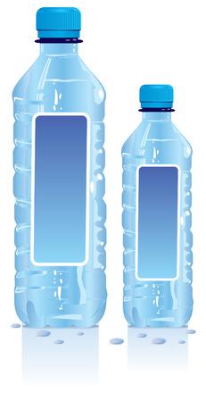 mineralien: Kunststoff-Wasser-Flaschen mit leere Beschriftung  Illustration