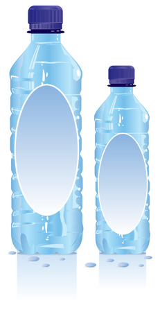 bottled water: Plastic water bottles with blank label Illustration