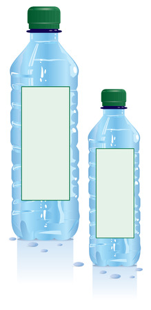spring water: Plastic water bottles with blank label Illustration