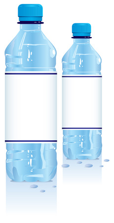 Plastic water bottles with blank label Illustration