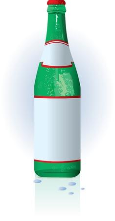 mineralien: Glas Wasser-Flasche mit leere Beschriftung