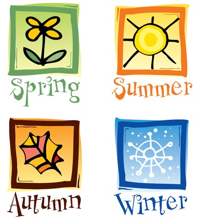 Four Seasons Icons Illustration
