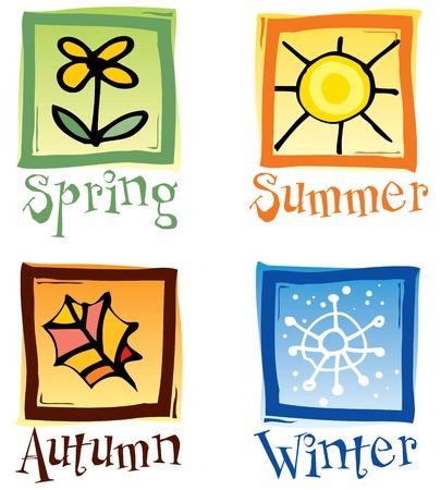 estaciones del a�o: Iconos de cuatro estaciones