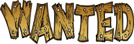 Wanted Wooden Lettering Illustration