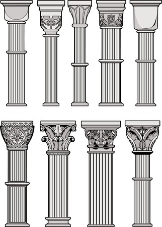 ancient roman: Roman Columns Illustration
