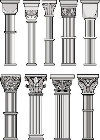 carved: Roman Columns Illustration