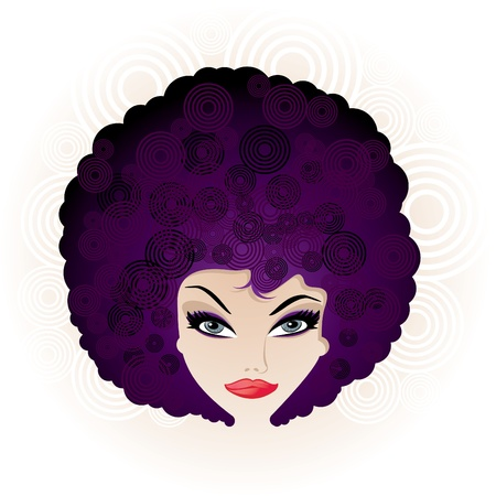 afro: Pretty Disco Girl with Stylised Afro Hairstyle Illustration