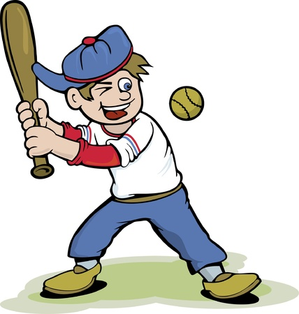 baseball cartoon: Baseball Kid Cartoon Illustration
