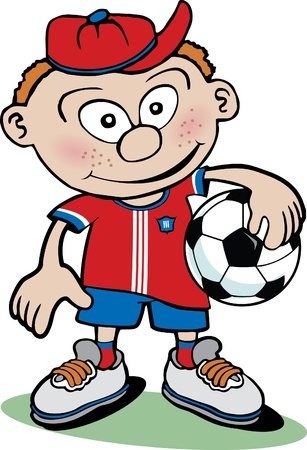 kids football: Cartoon Boy with Soccer ball