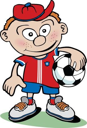 futbol soccer dibujos: Chico de dibujos animados con balón de fútbol