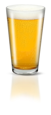 beer pint: Glass Of Lager Stock Photo