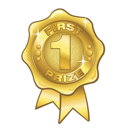 First Prize Gold Rosette Vector