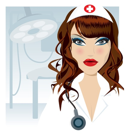 sexy female doctor: Nurse illustration Illustration