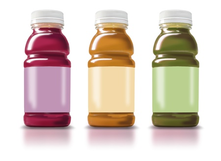 Photo illustration of 3 Fruit Smoothie Bottles with blank labels Stock Photo