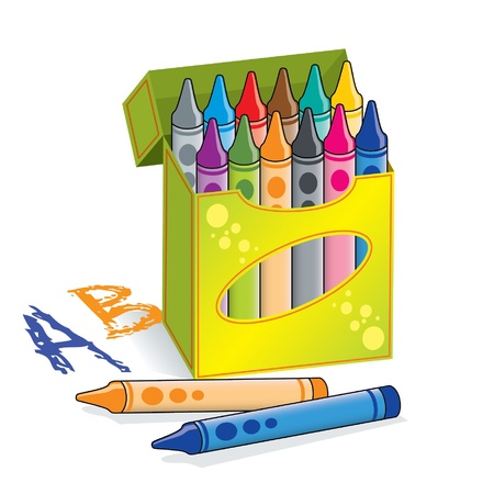 Box of crayons Vector