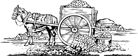 raw potato: Vintage illustration of a farmers horse and cart