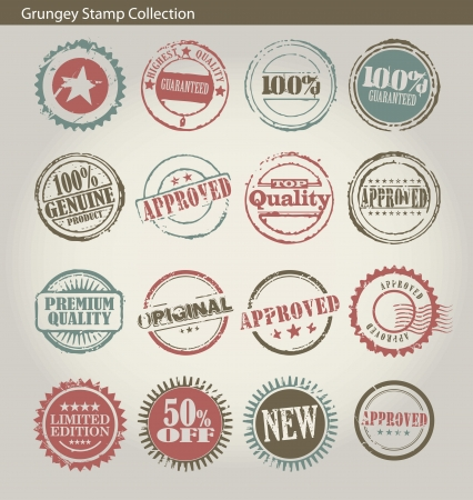 edition: Set of vintage style grungey circular stamps
