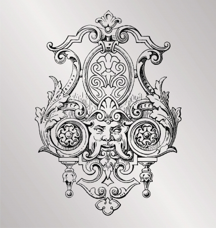 Vintage style baroque engraving decoration Illustration