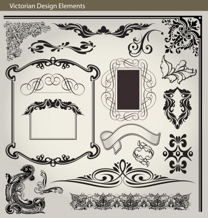 Set of vintage page decoration elements