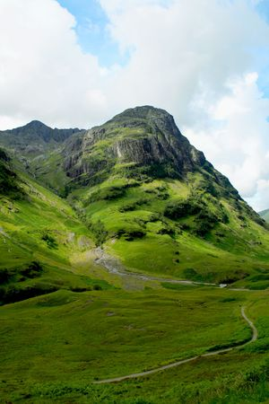 bagpipes: Glencoe Highlands in Scotland
