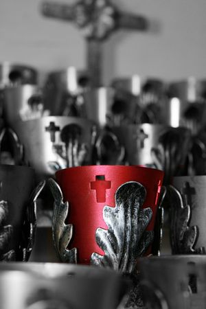 votive candle: Red votive candle in a church Stock Photo