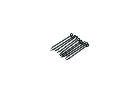 anodized: ten black needle fishing hooks isolated on white background