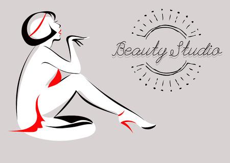 Vector Illustration of Glamorous Girl. Beauty Studio. Spa, hair salon, beauty or fashion consent. Ilustração