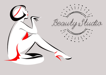 hair studio: Vector Illustration of Glamorous Girl. Beauty Studio. Spa, hair salon, beauty or fashion consent. Illustration