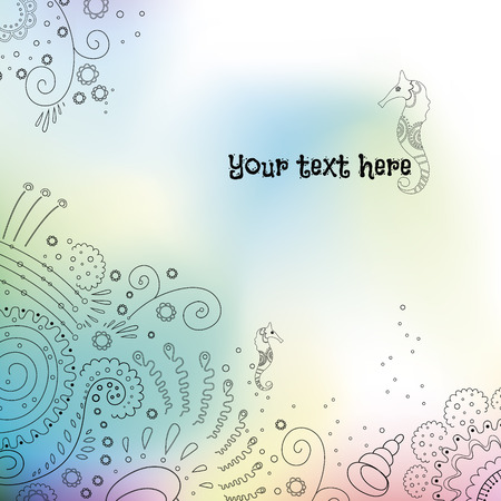 Watercolor vector background with sea ornament and place for text Ilustração