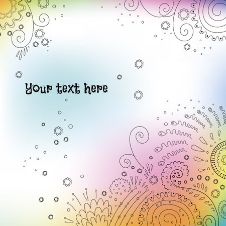 Watercolor vector background with decorative floral ornament and space for text