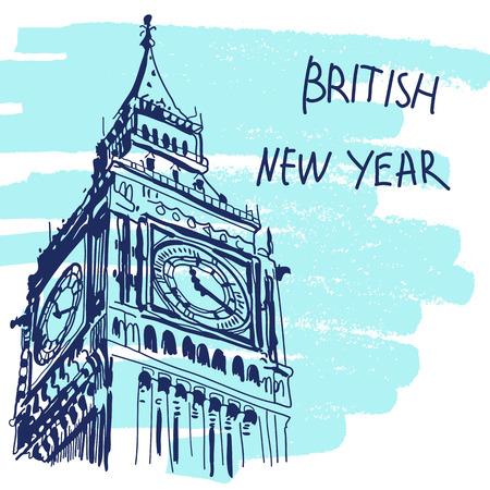 vac: New Year Vector Illustration. World Famous Landmarck Series: Big Ben, London, England. British New Year