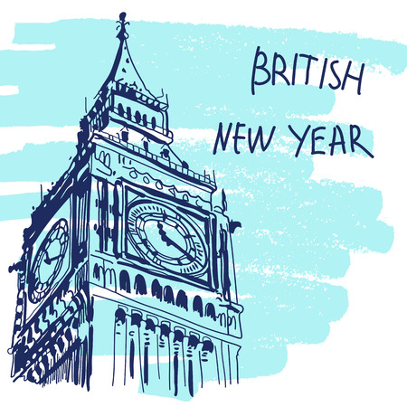 New Year Vector Illustration. World Famous Landmarck Series: Big Ben, London, England. British New Year