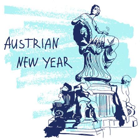 New Year Vector Illustration. World Famous Landmarck Series: Austria, Vienna, Dunnerbrunnen Fountain. Austrian New Year