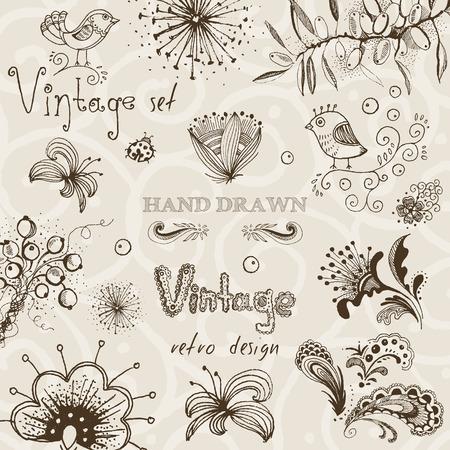Vintage set of hand drawn decorative vector floral elements for your design. Ilustração