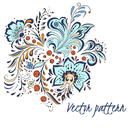 Vector colorful russian style texture with abstract flowers isolated on white background.